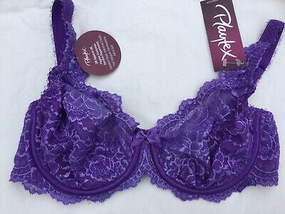 Playtex Flower Lace Bra Style P5832 In Purple/Royal Size 34D.