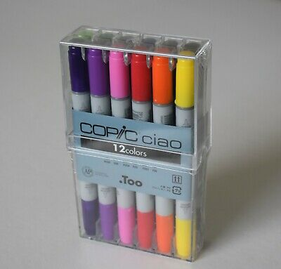 12 Copic Ciao Brush Pens. Fantastic Collection   **Cheapest On Ebay**