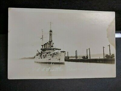 USS SEATTLE ACR-1 WWI Naval Cover unused post card ARMORED CRUISER PANAMA CANAL