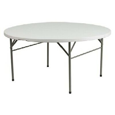 """60"""" Round Commercial Grade Plastic Folding Table. Indoor/Outdoor Use.Color:White"""