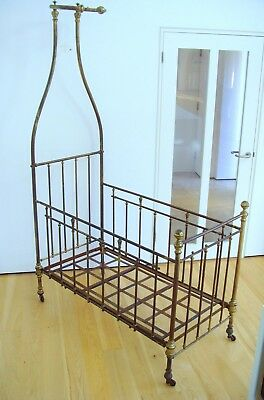 Brass cot with canopy  Victorian brass bed crib