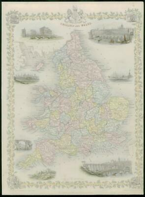 """1850 Original Antique Map """"ENGLAND AND WALES""""  by TALLIS FULL COLOUR (29)"""