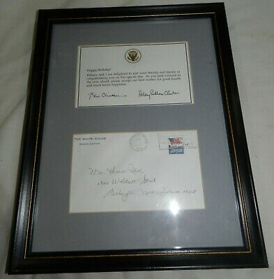 Bill + Hillary Clinton signed Note and envelope - Autograph - Framed