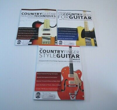 Lot of 3 Books Country Guitar 100 Country Licks Soloing Techniques Finger style