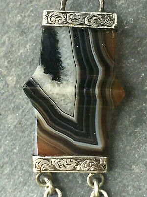 ANTIQUE/EARLY20thC VINTAGE SCOTTISH BANDED AGATE PANEL BRACELET
