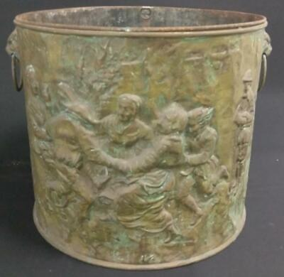 Antique Old Metal Brass Planter or Coal Firewood Bucket Bin Brass English Old
