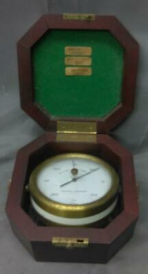 Vintage Weather Barigo Barometer Brass in a Wooden Carrying Case German Germany