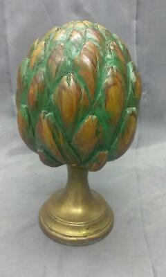 Antique Old Wood Carving Carved Wooden Artichoke Painted Brass Base Sculpture