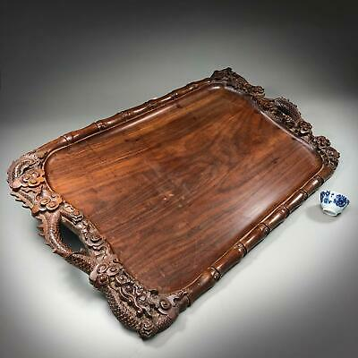 LARGE! 67cm! antique Chinese / South East Asian CARVED WOOD TRAY with DRAGONS!