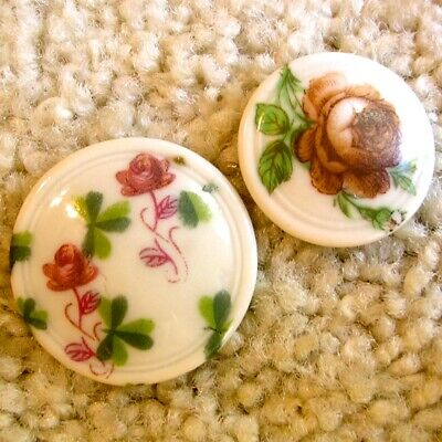 Lovely pair of antique/vintage porcelain ROSE buttons