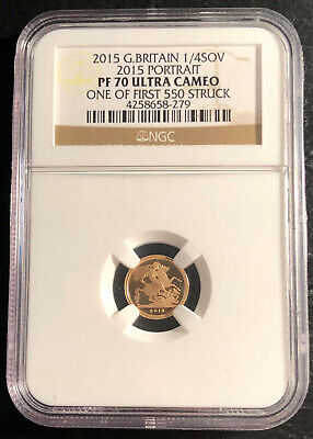2015 Great Britain 1/4 Sovereign Gold Coin NGC PF 70 Ultra Cameo