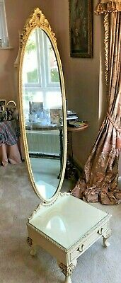 French Louis XV Style Elegant Upright Full Length Dress Mirror With Draw In Base