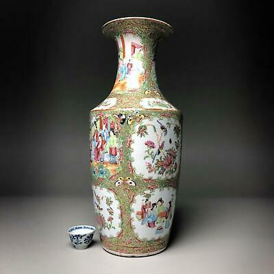 LARGE! 44CM! antique Chinese FAMILLE ROSE VASES 19th century Canton porcelain