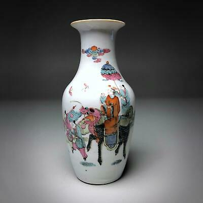 "Fine antique CHINESE ""IMPERIAL BOY ON KILIN"" Famille Rose baluster vase"
