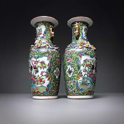 PAIR antique OLIVE GREEN GROUND FAMILLE ROSE VASE 19thC Chinese Canton Porcelain