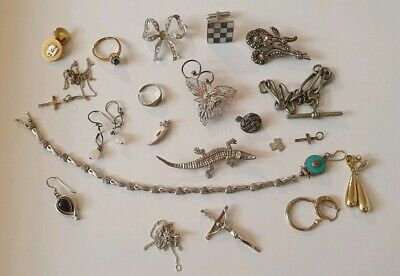 Vintage And Modern Silver 925 Jewellery Good And Scrap 9 Carat Lot Hallmarked