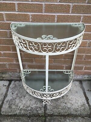 Vintage Metal Console Table Hall Porch With Original Glass Half Moon Shelves