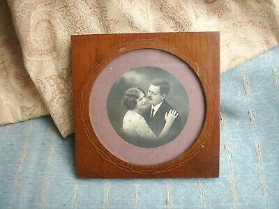 Old Antique Inlaid Mahogany Edwardian Photo Picture Frame c.1900 Vintage Photo