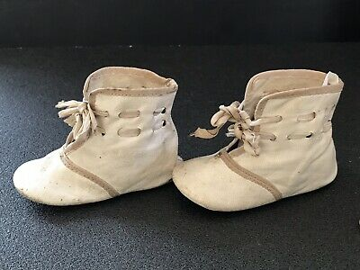 Antique Childrens Baby Shoes Kid leather boots early 1900s