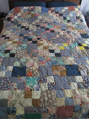 Vtg Hand Made Tied Quilt, 4-Patch Block Pattern, 81 X 68