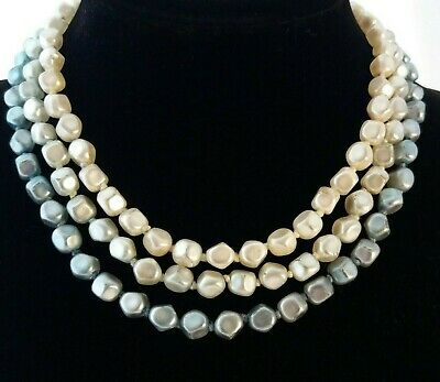Vintage Hand Knotted 1950s Triple Strand Necklace