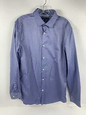 Banana Republic Mens Shirt Solid Blue 120s Supima Cotton Button Down Grant Fit L