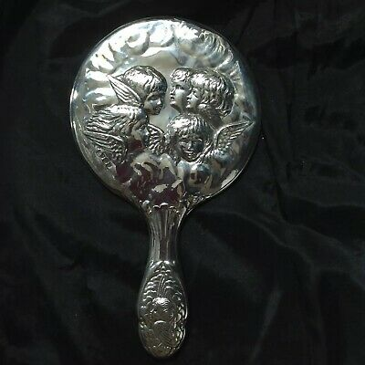 W J Myatt & Co Birmingham Hallmarked Silver Backed Cherub Decoration Hand Mirror