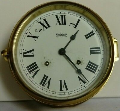 Antique, Stockburger Maritime Brass Bulk Head Clock, Made In Germany With Alarm