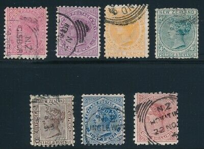 New Zealand (1882) Victorias #61-67 Used; Complete Set (7); All Sound