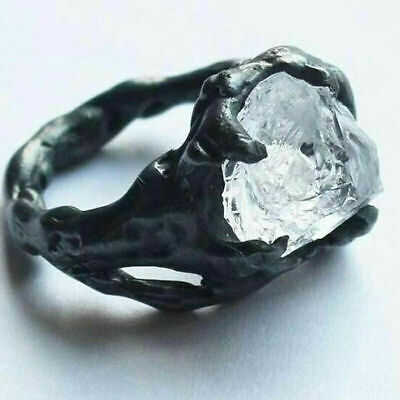 925 Silver Plated Ring Creative Iceberg Irregular White Crystal Punk Jewelry