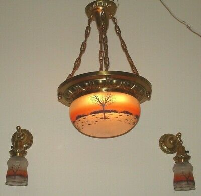 1910 Arts and Crafts, Bungalow, Chandelier & Two Sconce, Reverse painted  Shades