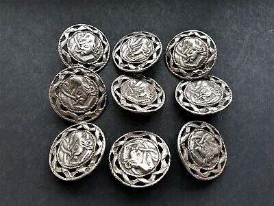 A Set Of 9 Solid Silver Birmingham Hallmarked Button By Lawrence Emanuel 1896