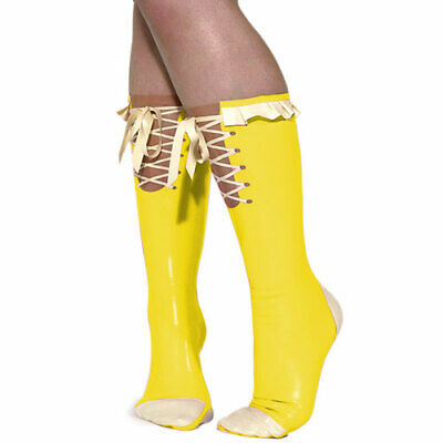 Nature Socken Latex 100% Rubber Gummi Yellow White Ruffle Ankle Socks Size S-XXL