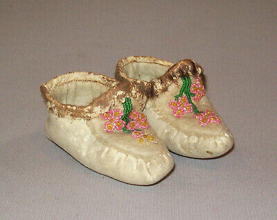 Antique Vtg C 1920s Childs Native American Indian Beaded Leather Baby Moccasins