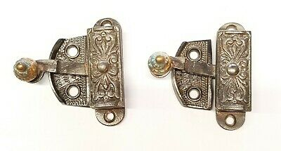 Antique Ornate Cast Iron Window Locks Latches Hardware Sash Lock Lot of 2