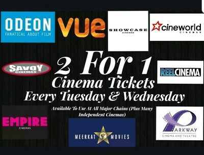 2 for 1 Cinema Tickets for every Tuesday or Wednesday 2019