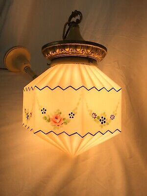 Antique Vtg Art Deco Ceiling Fixture Light Glass Shade Hand Painted Hanging Lamp