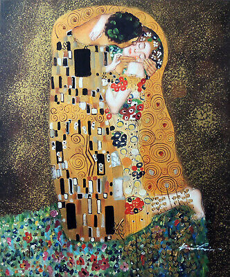 The Kiss Couple in Love Portrait Gustav Klimt Repro 20X24 Oil Painting STRETCHED
