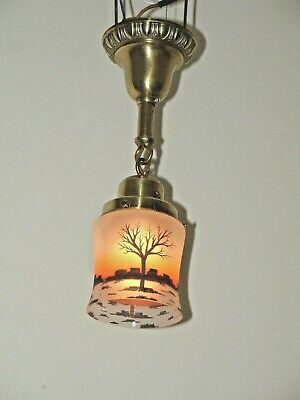 1910 Arts and Crafts, Bungalow, Chandelier or Sconce, Reverse painted  Shade.
