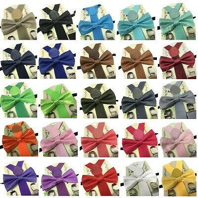 US New Adjustable Suspender and Bow Tie Set for Baby Toddler Kids Boy Girls