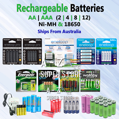Rechargeable Batteries AA or AAA 4 8 12 20 Battery lot Ni-MH Lithium ion 18650
