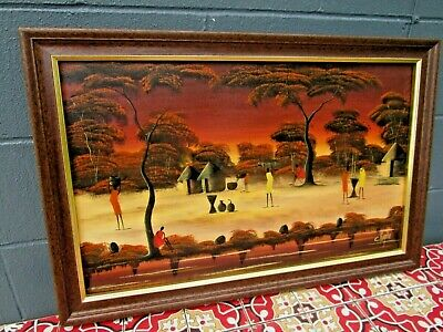 Vtg Mid Century? Africa Oil Painting on Canvas African Village Tribal by Kigotho