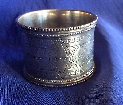 English Victorian Sterling Silver Napkin Ring Serviette Holder Engraved Mary