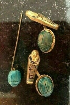 Fine Ancient Egypt scarab beetle faience cufflinks & Stickpin Edwardian goldwash