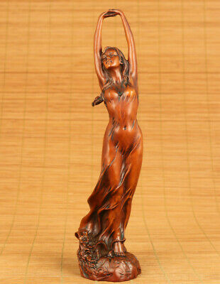 Rare Asian old boxwood hand carved seaside dance girl statue netsuke decoration