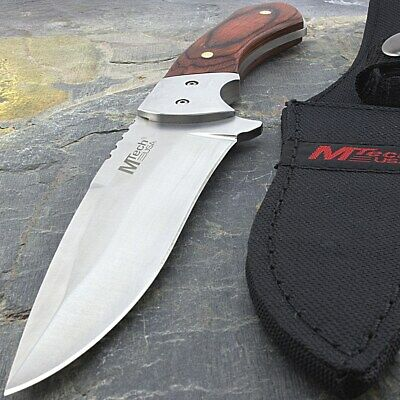 """9"""" MTECH USA WOOD HANDLE HUNTING KNIFE w/ SHEATH Survival Tactical Fixed Blade"""