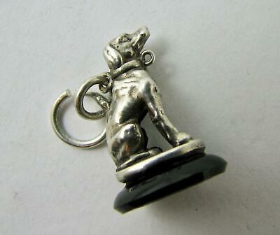 Antique Sterling Silver Hunting Dog Onyx Seal Fob Miniature Charm Pendant VGC