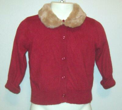 Janie & Jack Girls Size 12 18 M Month Red Angora Blend Cardigan Sweater