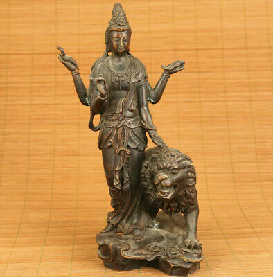 Rare big chinese bronze hand casting Kwan-yin lion statue collectable ornament