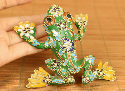 Rare Chinese old cloisonne hand painting frog statue figure pendant decoration